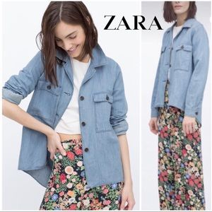 605218fbe731 Women s Zara Oversized Denim Jacket on Poshmark
